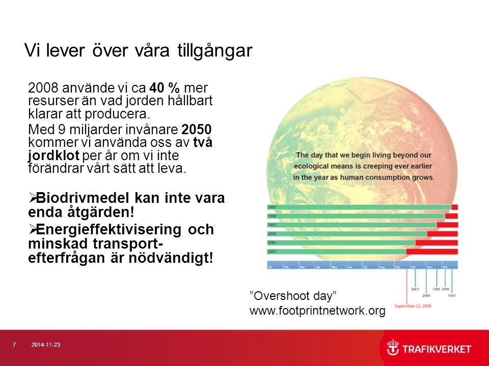 72014-11-23 2008 använde vi ca 40 % mer resurser än vad jorden hållbart klarar att producera. Med 9 miljarder invånare 2050 kommer vi använda oss av t