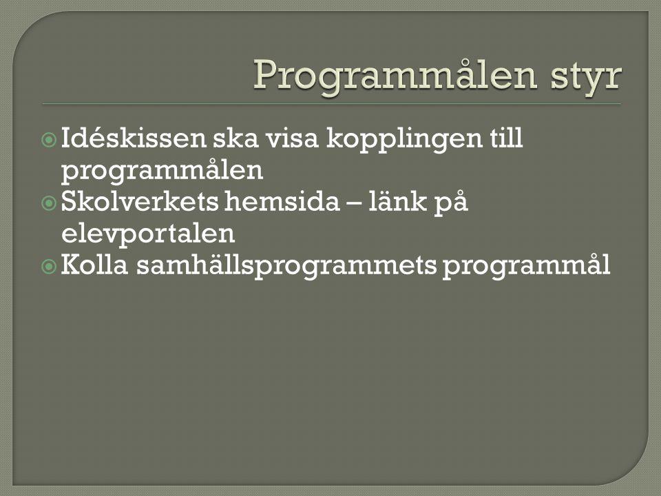  Idéskissen ska visa kopplingen till programmålen  Skolverkets hemsida – länk på elevportalen  Kolla samhällsprogrammets programmål