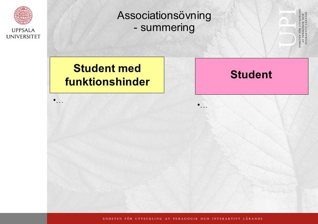 Associationsövning - summering Student med funktionshinder Student … …