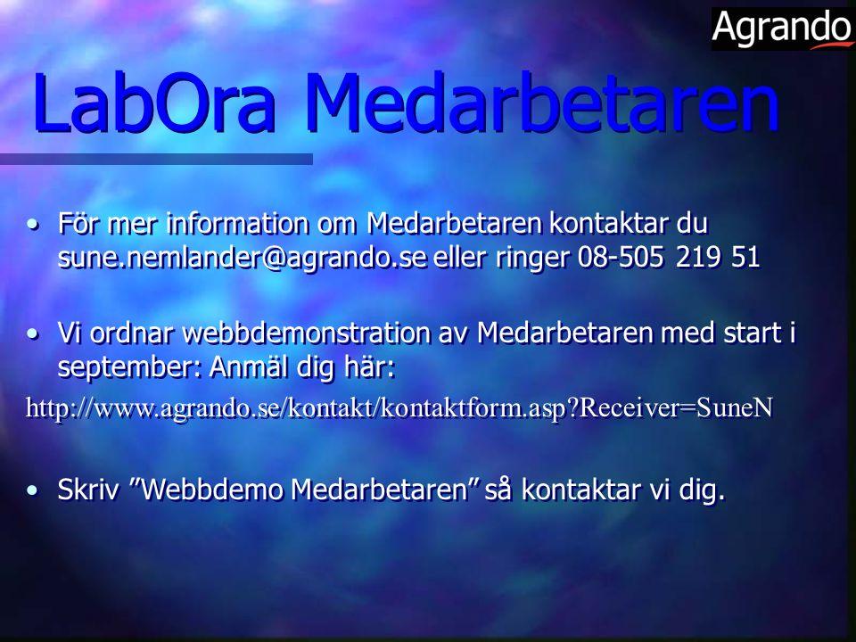 För mer information om Medarbetaren kontaktar du sune.nemlander@agrando.se eller ringer 08-505 219 51 Vi ordnar webbdemonstration av Medarbetaren med