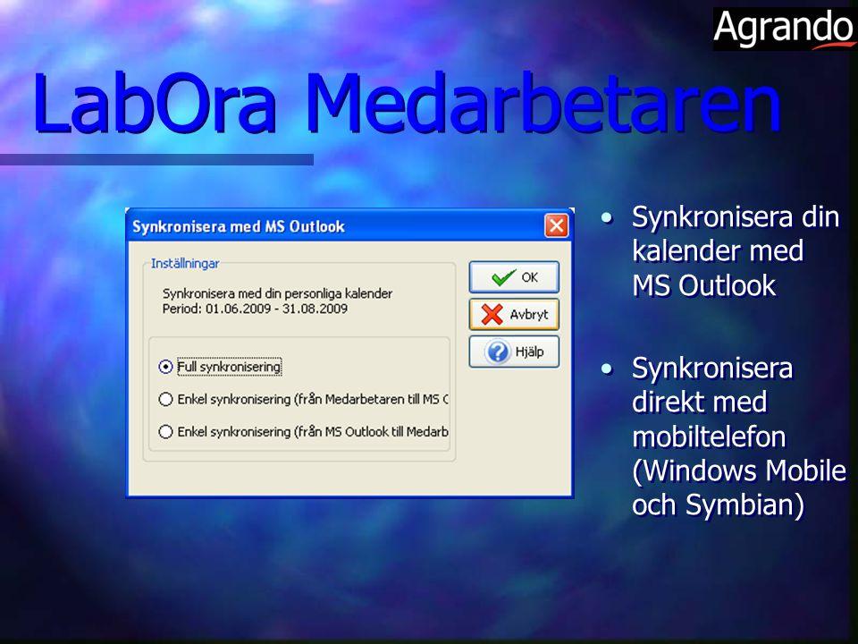 Synkronisera din kalender med MS Outlook Synkronisera direkt med mobiltelefon (Windows Mobile och Symbian) Synkronisera din kalender med MS Outlook Synkronisera direkt med mobiltelefon (Windows Mobile och Symbian) LabOra Medarbetaren