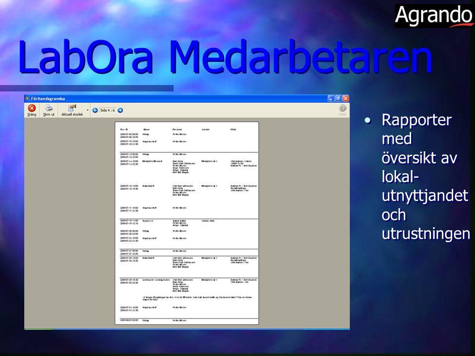 Rapporter med översikt av lokal- utnyttjandet och utrustningen LabOra Medarbetaren
