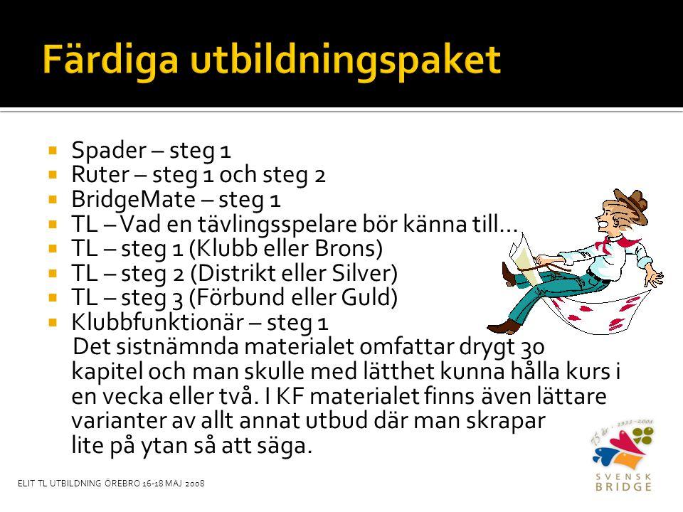  Spader – steg 1  Ruter – steg 1 och steg 2  BridgeMate – steg 1  TL – Vad en tävlingsspelare bör känna till…  TL – steg 1 (Klubb eller Brons)  TL – steg 2 (Distrikt eller Silver)  TL – steg 3 (Förbund eller Guld)  Klubbfunktionär – steg 1 Det sistnämnda materialet omfattar drygt 30 kapitel och man skulle med lätthet kunna hålla kurs i en vecka eller två.