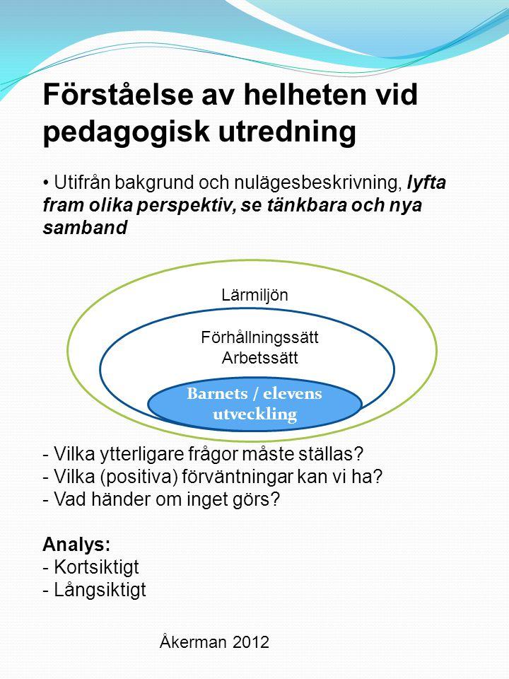 RelationerUnder- visning Barnet Eleven Skolan Under- visning Relationer Barnet Eleven Åkerman 2012 Skyddande- dvs friskfaktorer Hindrande- riskfaktorer