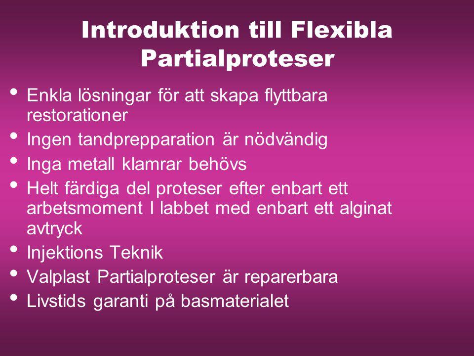 Introduktion till Flexibla Partialproteser Enkla lösningar för att skapa flyttbara restorationer Ingen tandprepparation är nödvändig Inga metall klamr