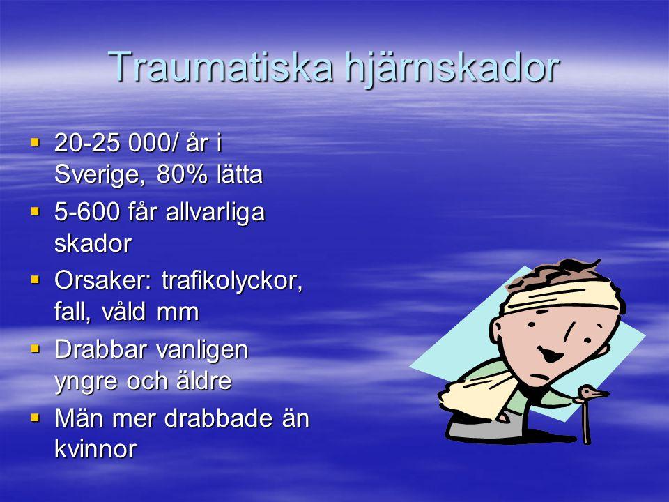 Traumatiska hjärnskador  20-25 000/ år i Sverige, 80% lätta  5-600 får allvarliga skador  Orsaker: trafikolyckor, fall, våld mm  Drabbar vanligen