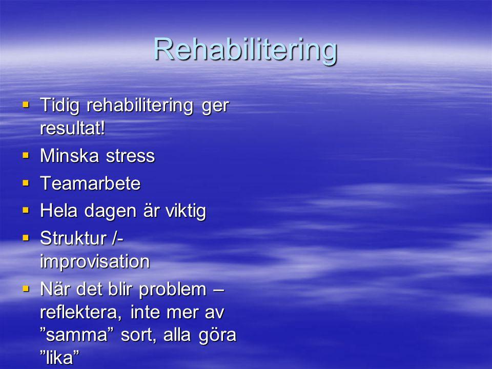 Rehabilitering  Tidig rehabilitering ger resultat!  Minska stress  Teamarbete  Hela dagen är viktig  Struktur /- improvisation  När det blir pro