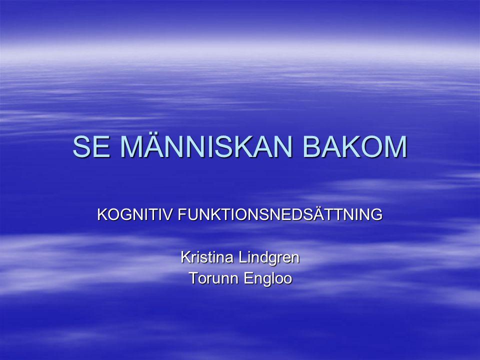SE MÄNNISKAN BAKOM KOGNITIV FUNKTIONSNEDSÄTTNING Kristina Lindgren Torunn Engloo