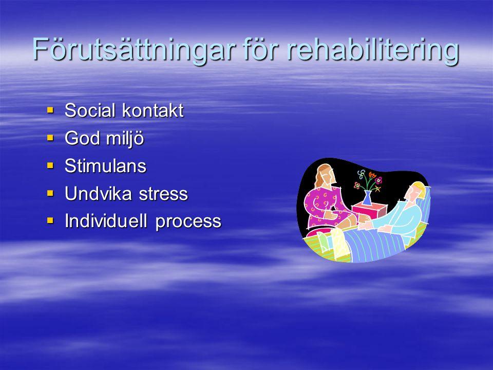 Förutsättningar för rehabilitering  Social kontakt  God miljö  Stimulans  Undvika stress  Individuell process