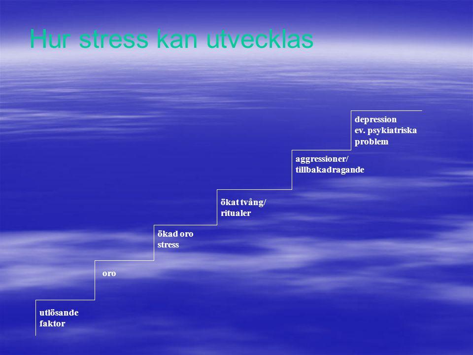 utlösande faktor oro ökad oro stress ökat tvång/ ritualer aggressioner/ tillbakadragande depression ev. psykiatriska problem Hur stress kan utvecklas