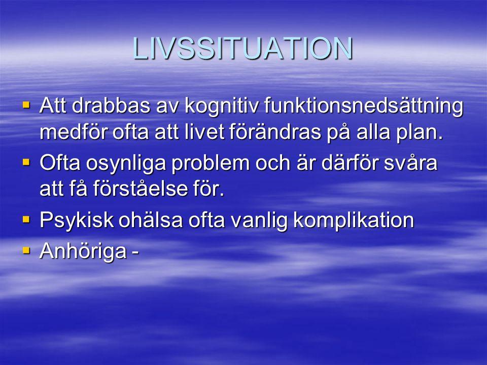 LIVSSITUATION  Att drabbas av kognitiv funktionsnedsättning medför ofta att livet förändras på alla plan.  Ofta osynliga problem och är därför svåra