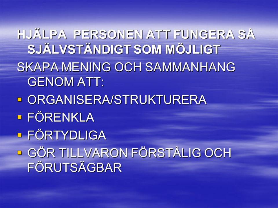 HJÄLPA PERSONEN ATT FUNGERA SÅ SJÄLVSTÄNDIGT SOM MÖJLIGT SKAPA MENING OCH SAMMANHANG GENOM ATT:  ORGANISERA/STRUKTURERA  FÖRENKLA  FÖRTYDLIGA  GÖR
