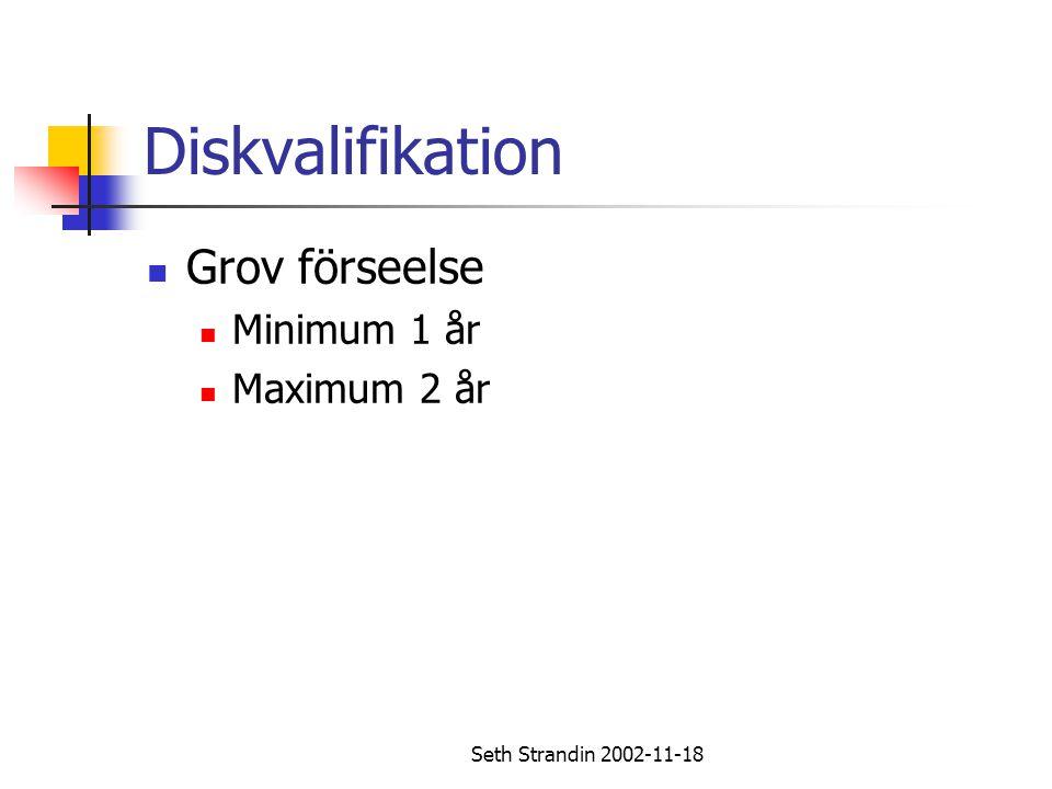 Seth Strandin 2002-11-18 Diskvalifikation Grov förseelse Minimum 1 år Maximum 2 år