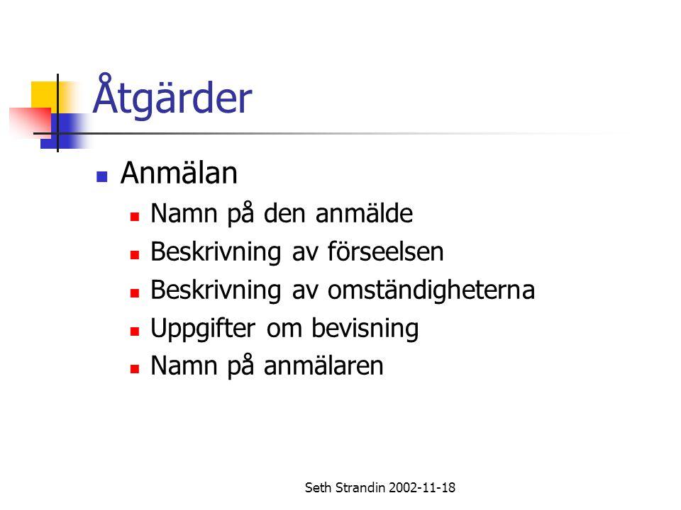 Seth Strandin 2002-11-18 Åtgärder Anmälan Namn på den anmälde Beskrivning av förseelsen Beskrivning av omständigheterna Uppgifter om bevisning Namn på