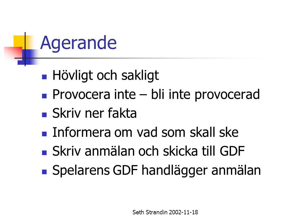 Seth Strandin 2002-11-18 Agerande Hövligt och sakligt Provocera inte – bli inte provocerad Skriv ner fakta Informera om vad som skall ske Skriv anmäla