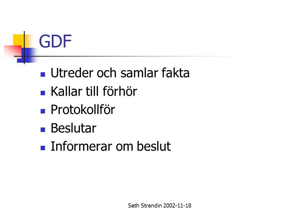 Seth Strandin 2002-11-18 GDF Utreder och samlar fakta Kallar till förhör Protokollför Beslutar Informerar om beslut
