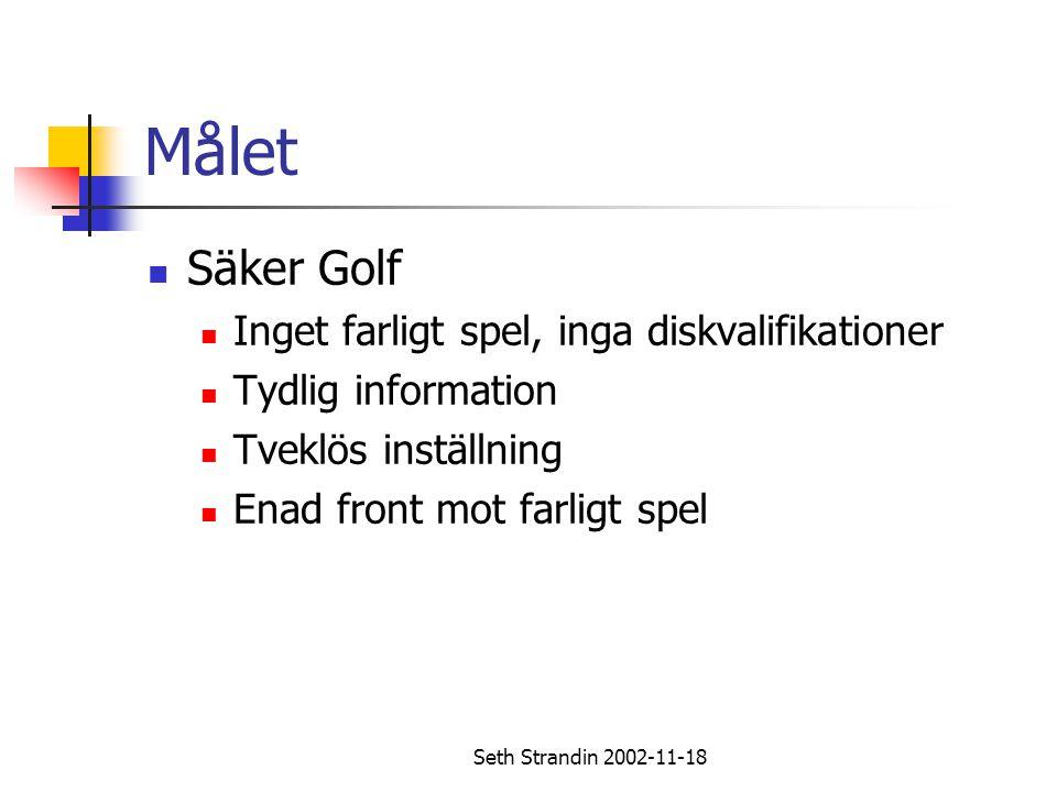 Seth Strandin 2002-11-18 Målet Säker Golf Inget farligt spel, inga diskvalifikationer Tydlig information Tveklös inställning Enad front mot farligt sp