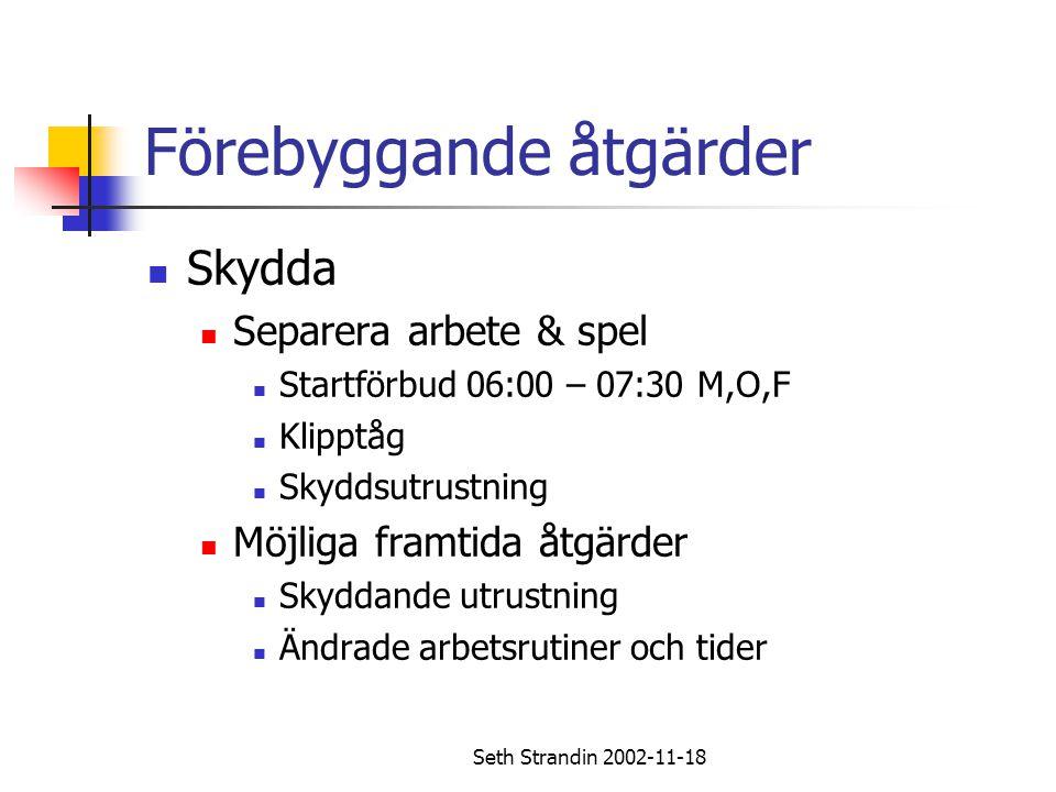 Seth Strandin 2002-11-18 Förebyggande åtgärder Skydda Separera arbete & spel Startförbud 06:00 – 07:30 M,O,F Klipptåg Skyddsutrustning Möjliga framtid