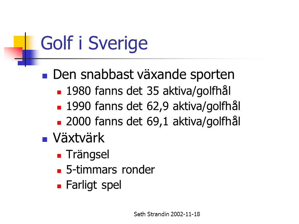 Seth Strandin 2002-11-18 Golf i Sverige Den snabbast växande sporten 1980 fanns det 35 aktiva/golfhål 1990 fanns det 62,9 aktiva/golfhål 2000 fanns de