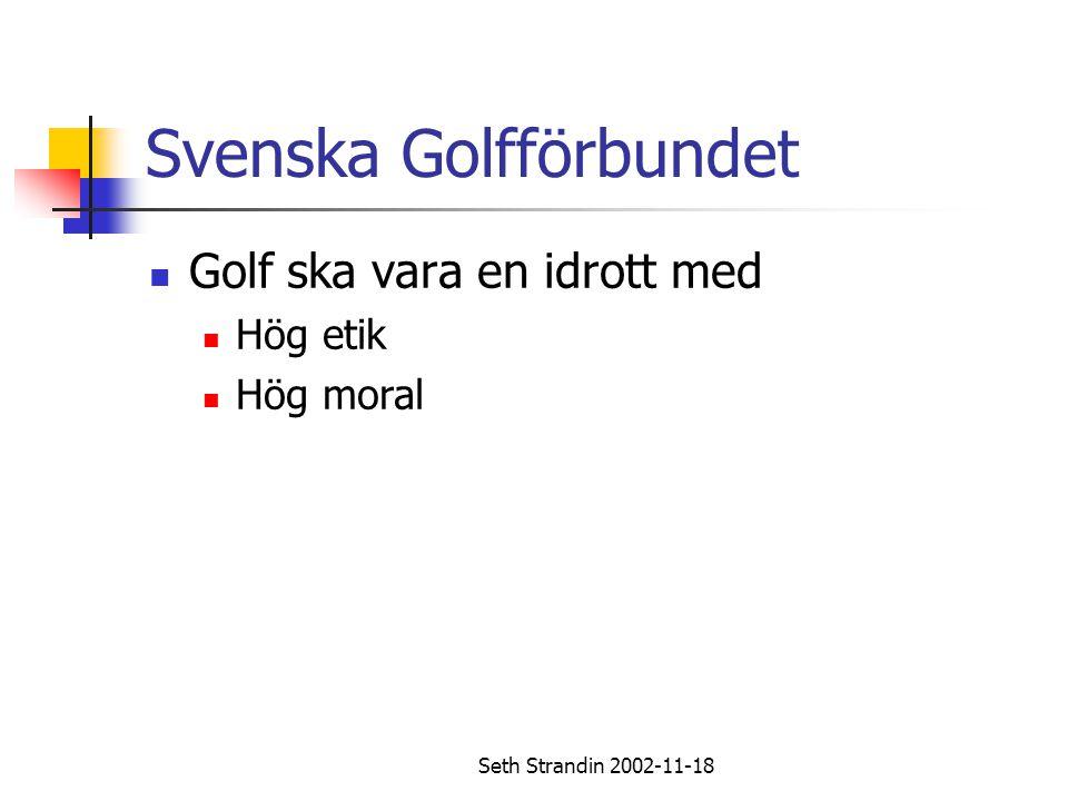 Seth Strandin 2002-11-18 Regler för golfspel Etikett – uppträdande på banan Innan spelaren slår ett slag bör han försäkra sig om att ingen står så nära eller på ett sådant sätt att han kan träffas av klubban eller bollen som en följd av slaget