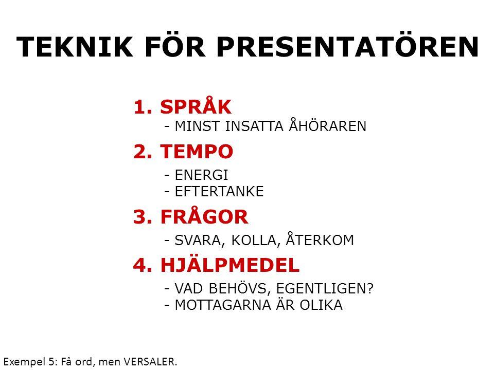 Teknik för presentatören 1.Språk - Minst insatta åhöraren 2.