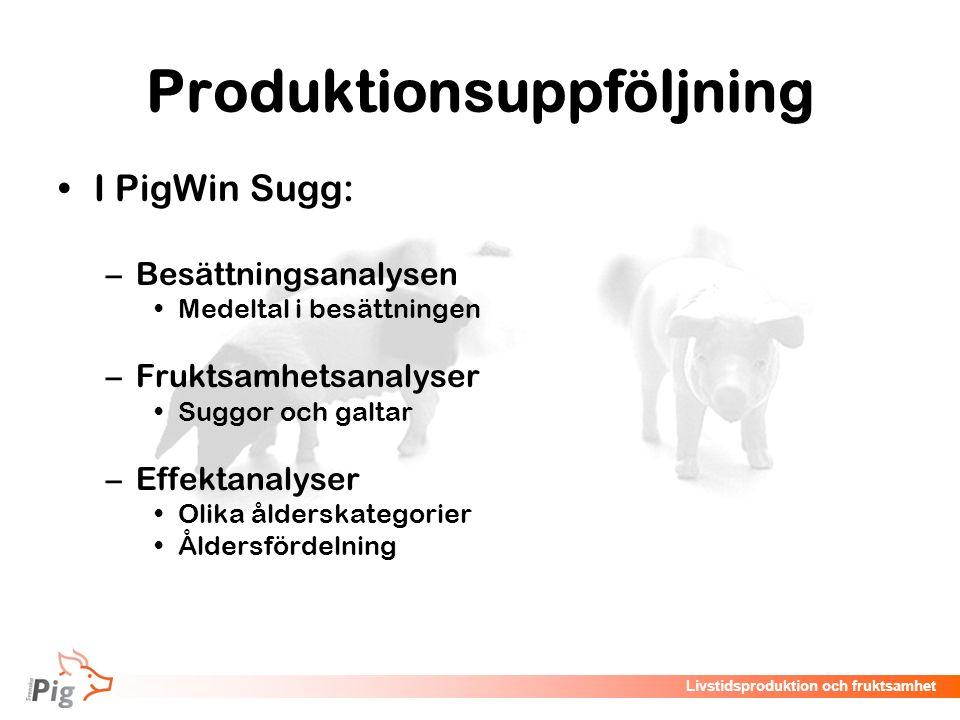 Livstidsproduktion och fruktsamhet Produktionsuppföljning I PigWin Sugg: –Besättningsanalysen Medeltal i besättningen –Fruktsamhetsanalyser Suggor och