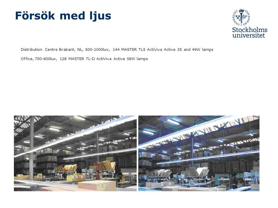 Försök med ljus Distribution Centre Brabant, NL, 500-1000lux, 144 MASTER TL5 ActiViva Active 35 and 49W lamps Office, 700-800lux, 128 MASTER TL-D Acti