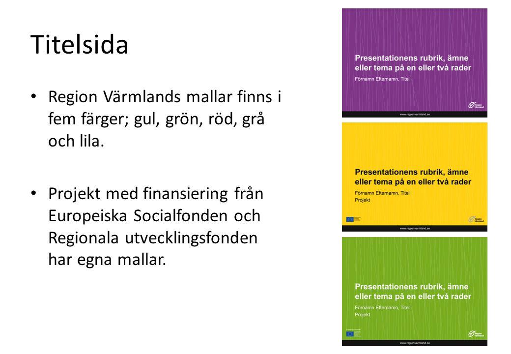 Titelsida Region Värmlands mallar finns i fem färger; gul, grön, röd, grå och lila.