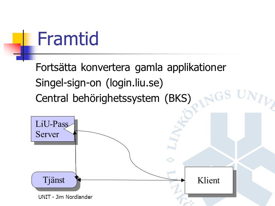 UNIT - Jim Nordlander Framtid Fortsätta konvertera gamla applikationer Singel-sign-on (login.liu.se) Central behörighetssystem (BKS) LiU-Pass Server LiU-Pass Server Tjänst Klient