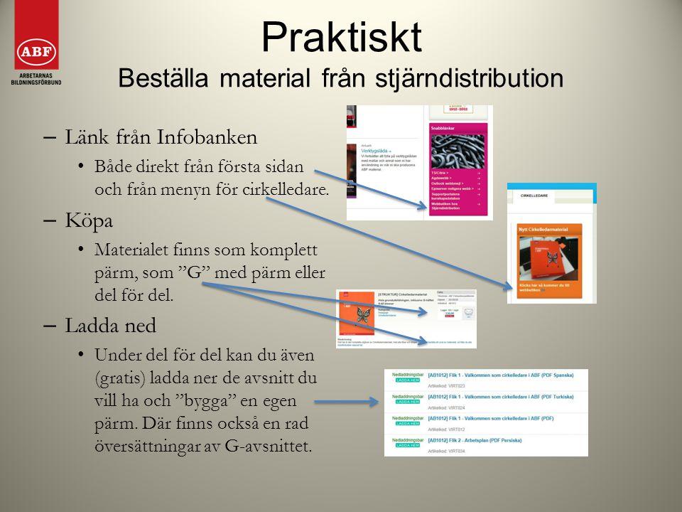 Praktiskt Beställa material från stjärndistribution – Länk från Infobanken Både direkt från första sidan och från menyn för cirkelledare. – Köpa Mater