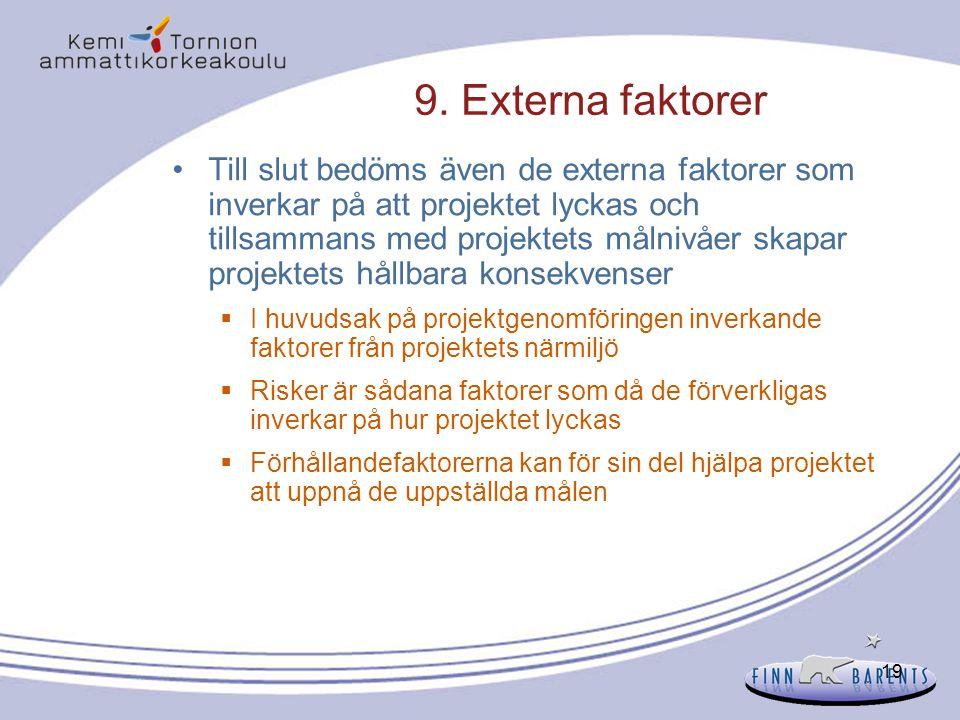 19 9. Externa faktorer Till slut bedöms även de externa faktorer som inverkar på att projektet lyckas och tillsammans med projektets målnivåer skapar