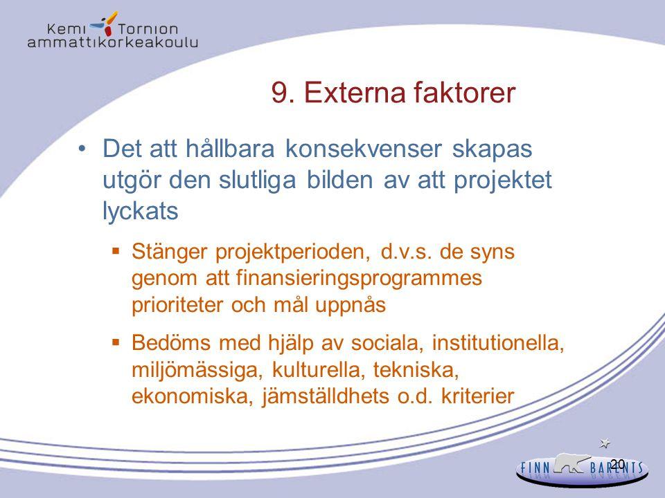 20 9. Externa faktorer Det att hållbara konsekvenser skapas utgör den slutliga bilden av att projektet lyckats  Stänger projektperioden, d.v.s. de sy