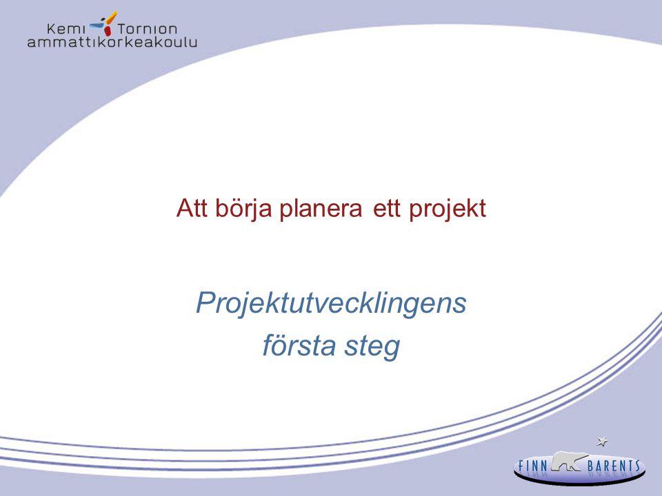 Att börja planera ett projekt Projektutvecklingens första steg