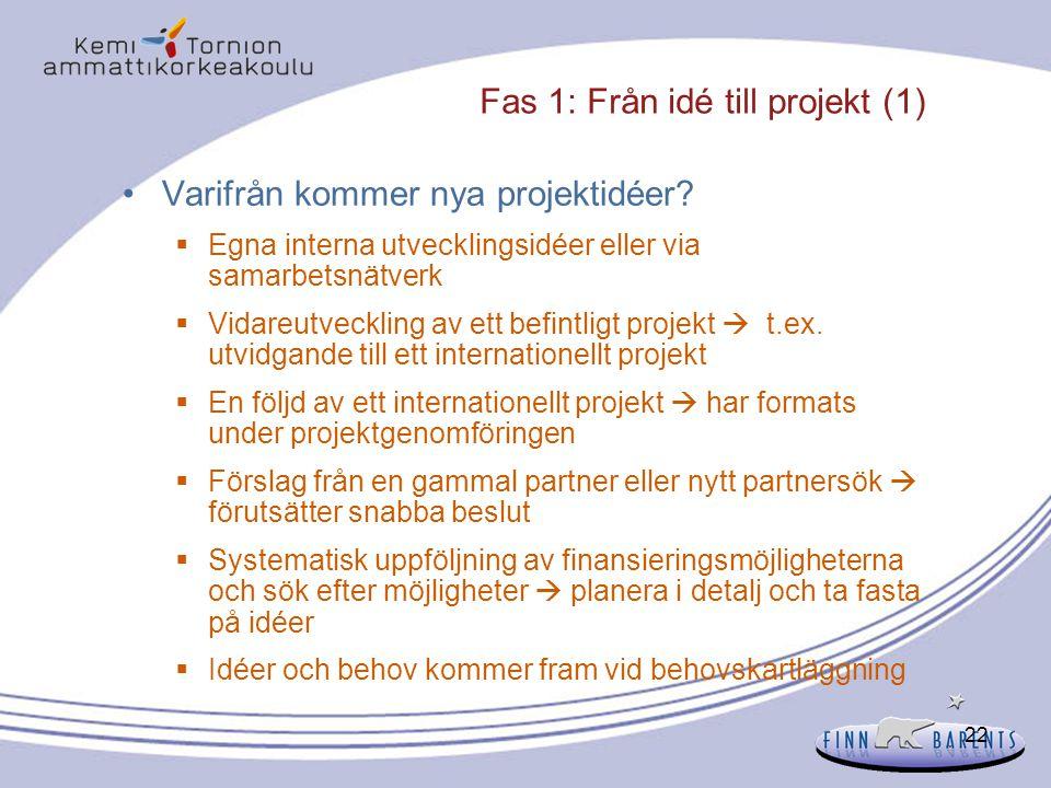 22 Fas 1: Från idé till projekt (1) Varifrån kommer nya projektidéer?  Egna interna utvecklingsidéer eller via samarbetsnätverk  Vidareutveckling av