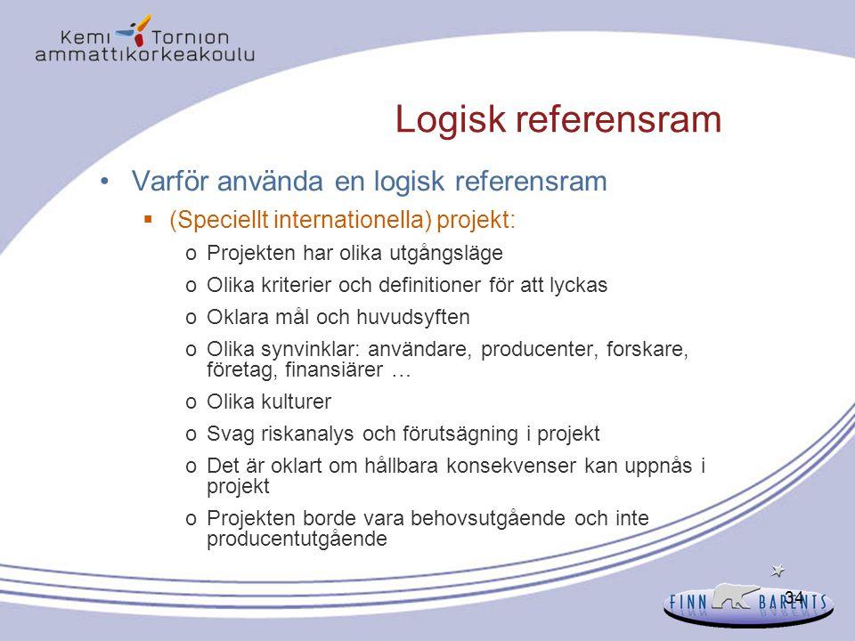 34 Logisk referensram Varför använda en logisk referensram  (Speciellt internationella) projekt: oProjekten har olika utgångsläge oOlika kriterier oc
