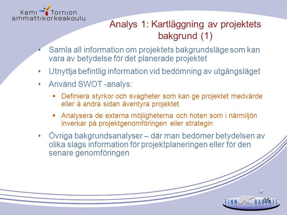 35 Analys 1: Kartläggning av projektets bakgrund (1) Samla all information om projektets bakgrundsläge som kan vara av betydelse för det planerade pro