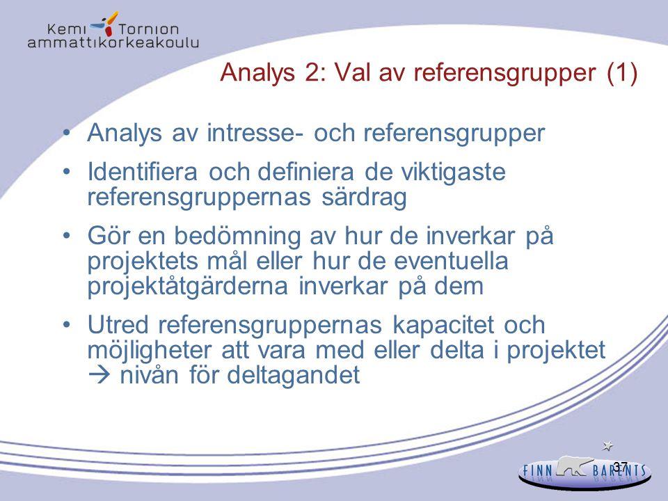 37 Analys 2: Val av referensgrupper (1) Analys av intresse- och referensgrupper Identifiera och definiera de viktigaste referensgruppernas särdrag Gör