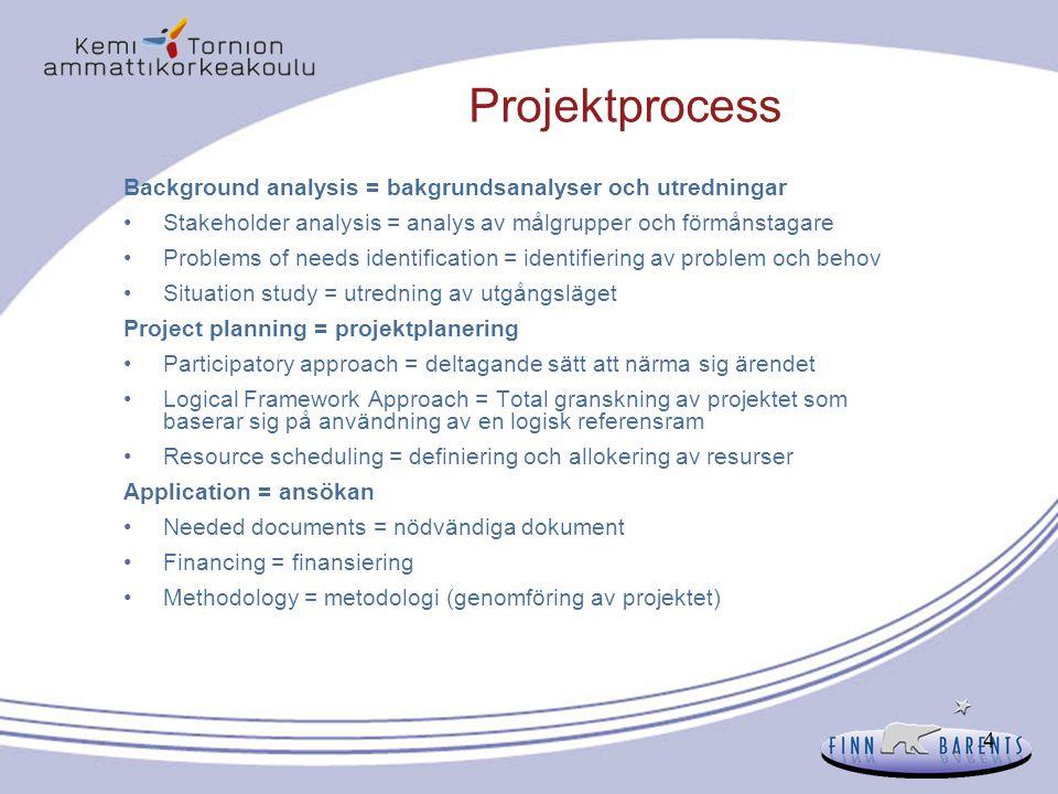 4 Projektprocess Background analysis = bakgrundsanalyser och utredningar Stakeholder analysis = analys av målgrupper och förmånstagare Problems of nee