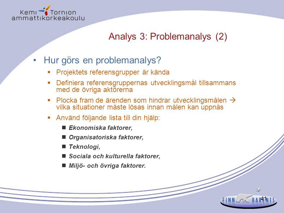 41 Analys 3: Problemanalys (2) Hur görs en problemanalys?  Projektets referensgrupper är kända  Definiera referensgruppernas utvecklingsmål tillsamm