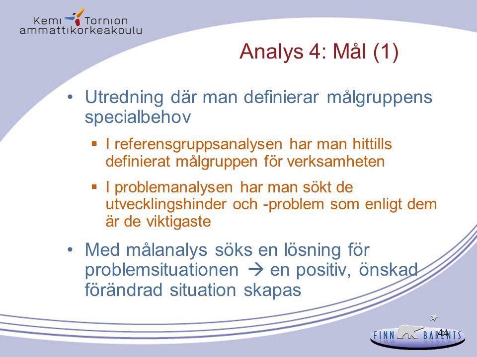 44 Analys 4: Mål (1) Utredning där man definierar målgruppens specialbehov  I referensgruppsanalysen har man hittills definierat målgruppen för verks