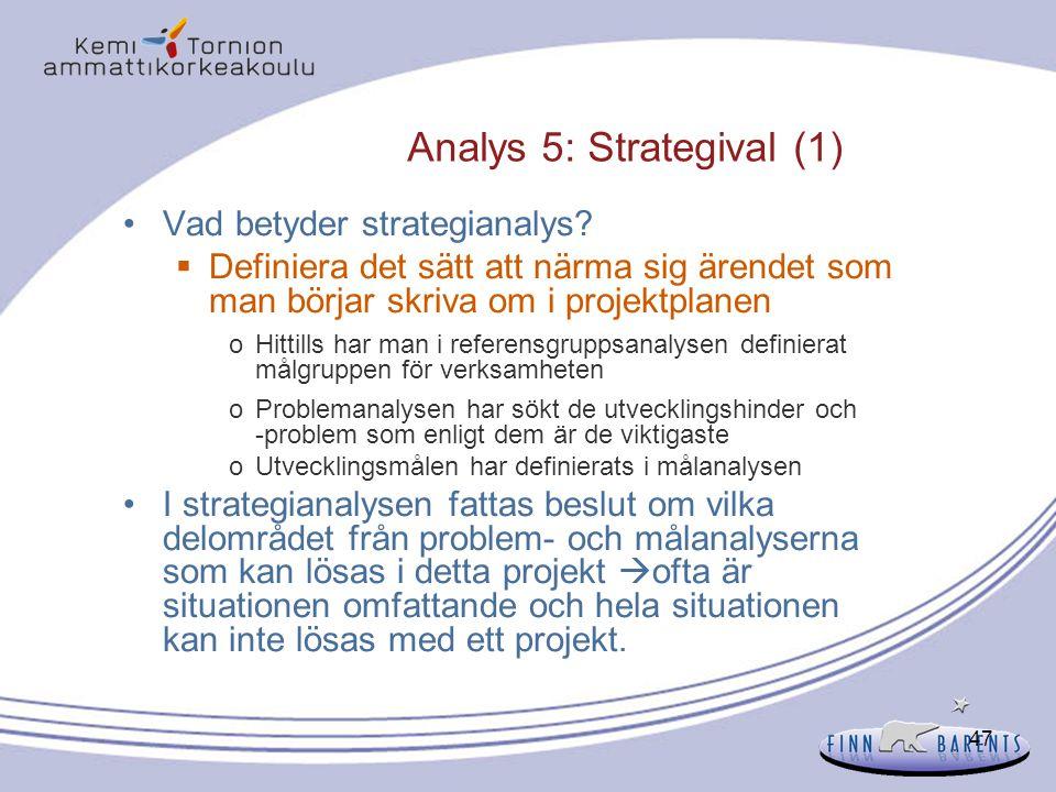 47 Analys 5: Strategival (1) Vad betyder strategianalys?  Definiera det sätt att närma sig ärendet som man börjar skriva om i projektplanen oHittills