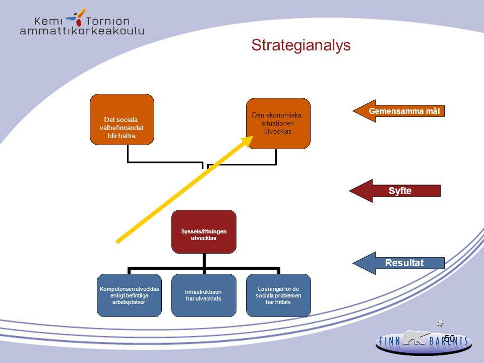 50 Strategianalys Gemensamma mål Syfte Resultat Sysselsättningen utvecklas Kompetensen utvecklas enligt befintliga arbetsplatser Infrastrukturen har u