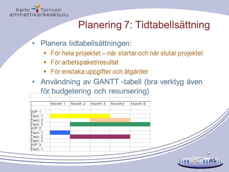 63 Planering 7: Tidtabellsättning Planera tidtabellsättningen:  För hela projektet – när startar och när slutar projektet  För arbetspaket/resultat