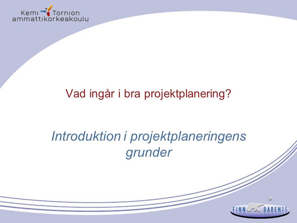 8 Betydelsen med en bra projektplan Projektplanens uppgift är att fungera som en riktlinje för projektteamet genom hela projektet  att uppnå de uppställda målen och resultaten Projektplanen utgör grunden för projektgenomföringen Problemen vid projektgenomföringen beror på dålig planering och dålig plan Finansieringsprogrammen kräver som oftast en koncentrerad projektansökan, som inte är det samma som en projektplan  ansökan baserar sig på planen