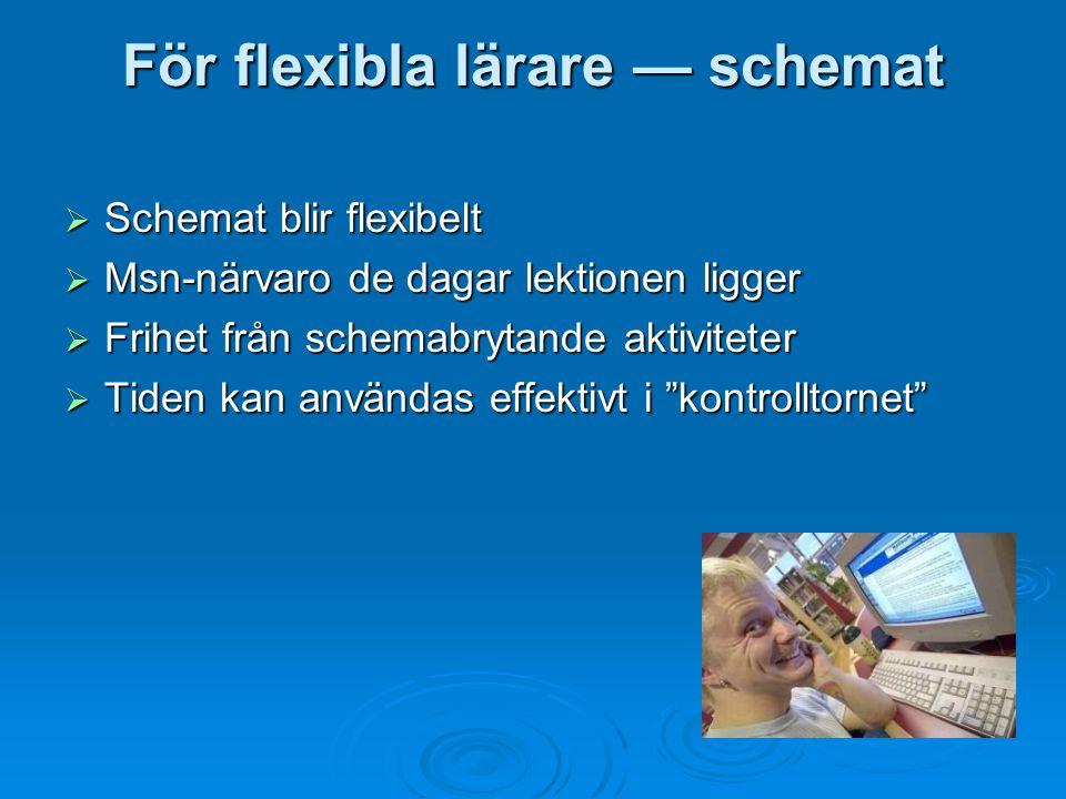 För flexibla lärare — schemat  Schemat blir flexibelt  Msn-närvaro de dagar lektionen ligger  Frihet från schemabrytande aktiviteter  Tiden kan användas effektivt i kontrolltornet