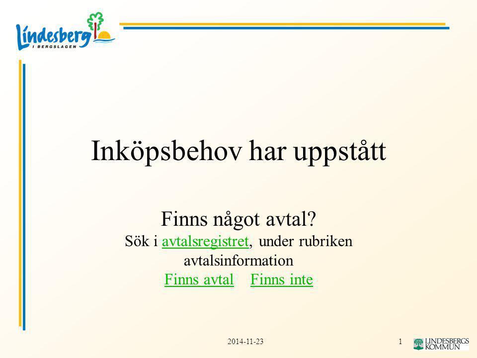 12014-11-23 Inköpsbehov har uppstått Finns något avtal.
