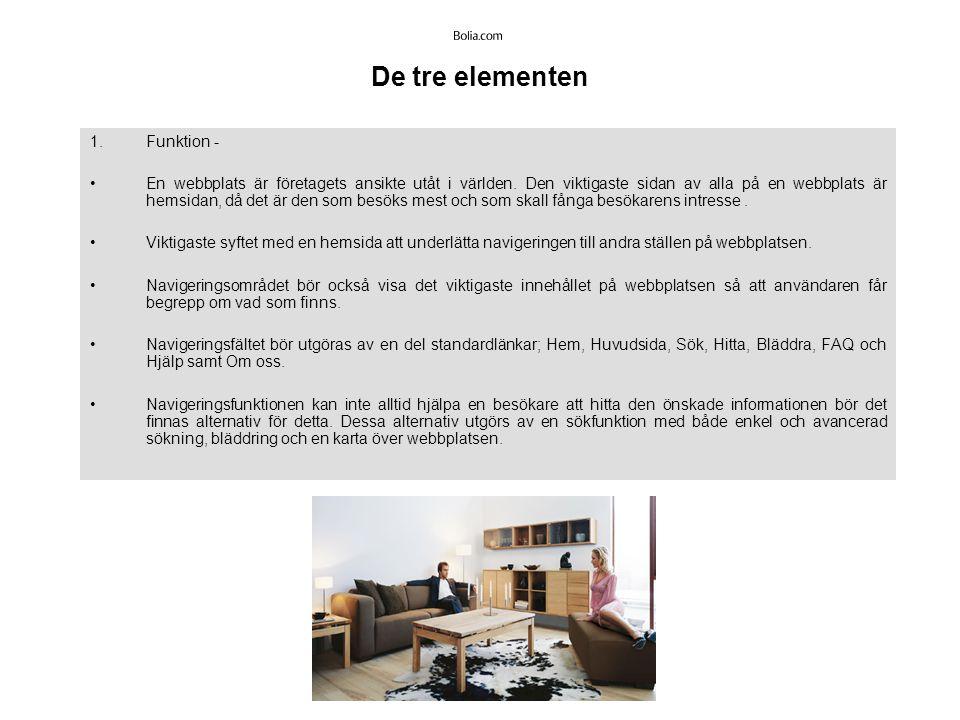 De tre elementen 2.Estetik - Grafisk design och animeringar är till viss mån elementärt för en genomtänkt och bra webbplats, då det kommer att avgöra upplevelsen som användarna får.