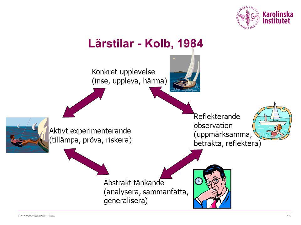 Datorstött lärande, 200615 Lärstilar - Kolb, 1984 Konkret upplevelse (inse, uppleva, härma) Reflekterande observation (uppmärksamma, betrakta, reflekt