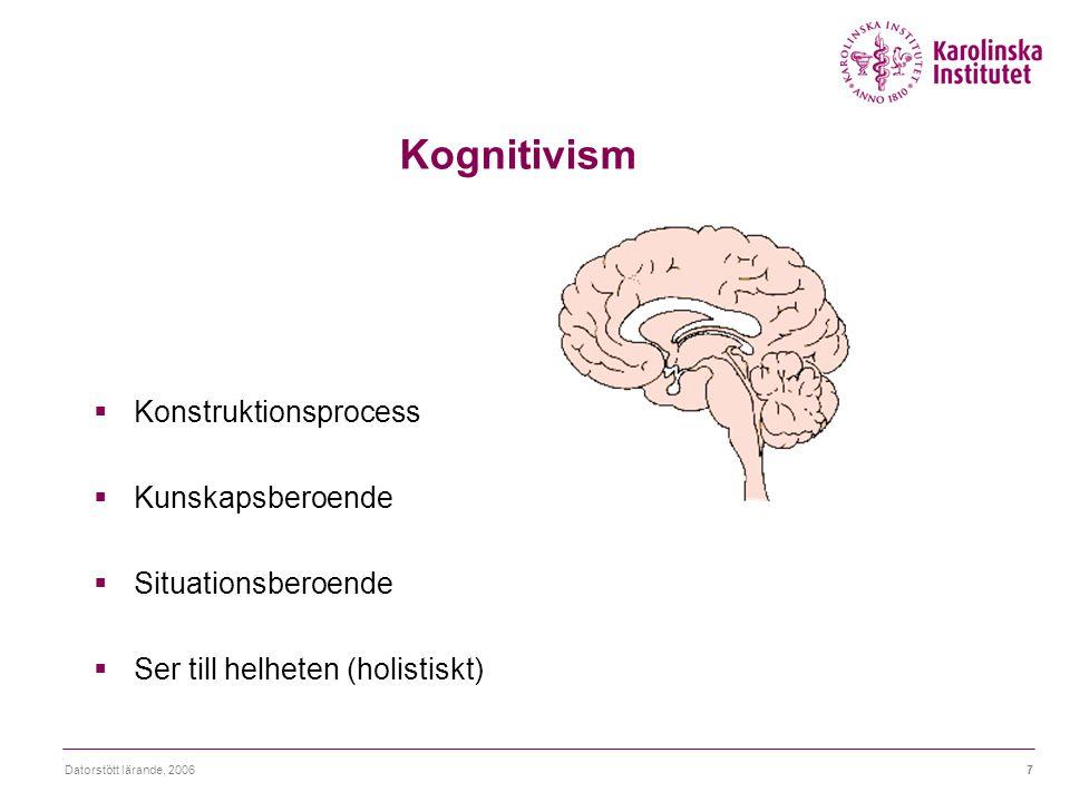 Datorstött lärande, 20067 Kognitivism  Konstruktionsprocess  Kunskapsberoende  Situationsberoende  Ser till helheten (holistiskt)