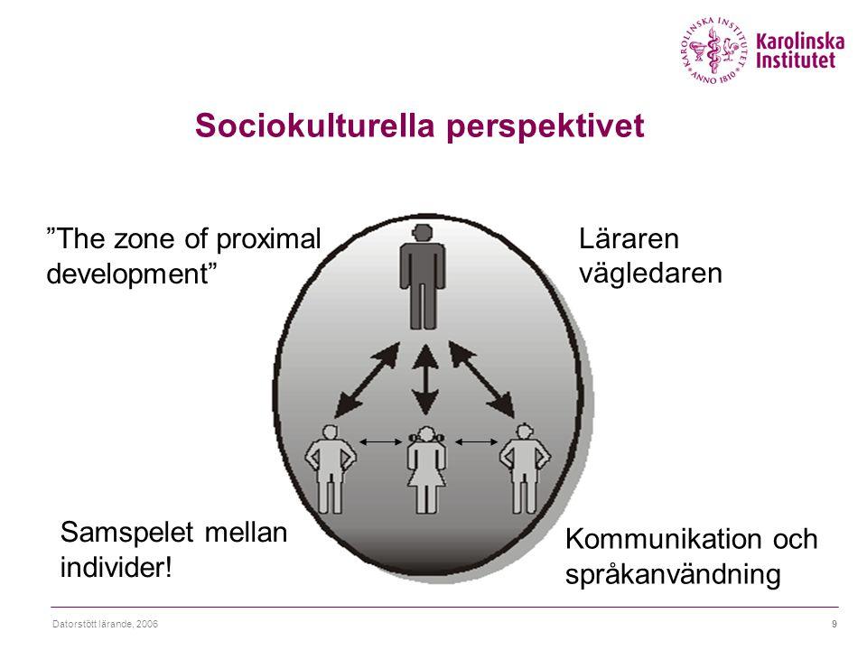 """Datorstött lärande, 20069 Sociokulturella perspektivet Samspelet mellan individer! Kommunikation och språkanvändning """"The zone of proximal development"""